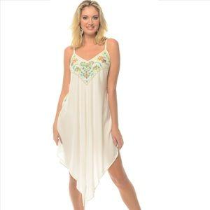 Embroidered Midi Asymmetric Dress - White